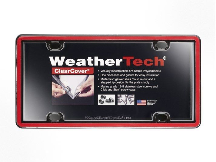 License Plate Covers - Clear Cover Waterproof License Plate Protector | WeatherTech.com     2 red/black