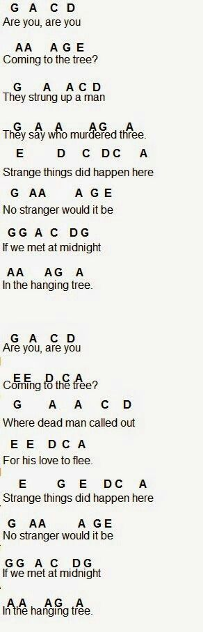 flute sheet music the hanging tree i just played in on a piano so it appears to work there too omg its for the flute that is me but sadly i dont