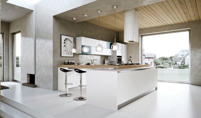 Moderne kücheninsel ~ Lampe küche moderne kücheninsel pendelleuchten weißer boden