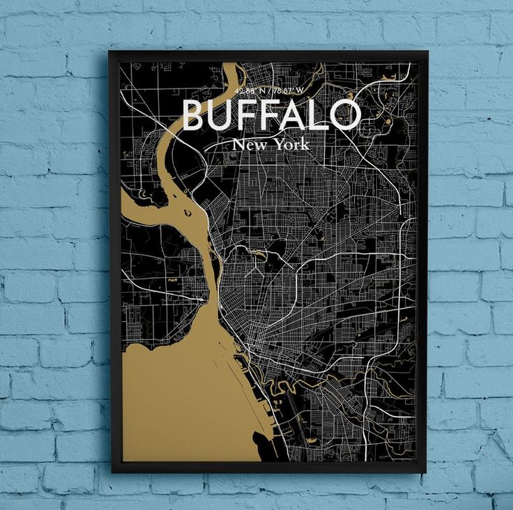 Buffalo City Map' Graphic Art Print Poster in Black