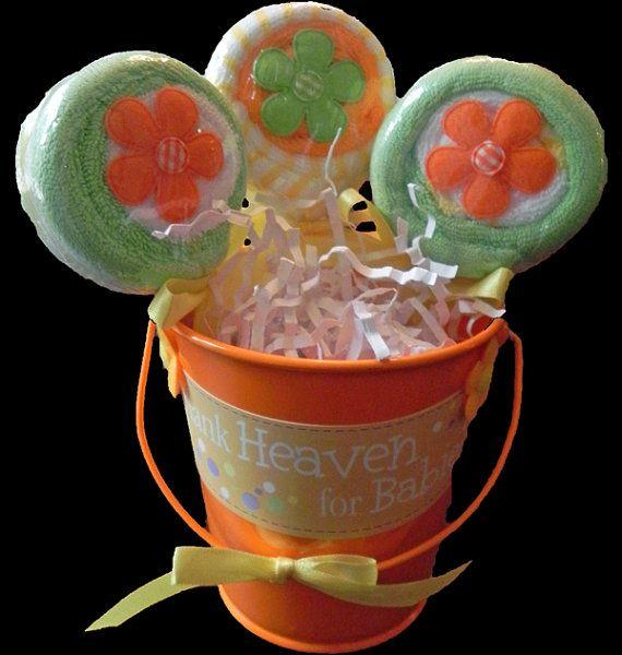 Washandje Lollipop emmer  unieke Baby douche geschenken en