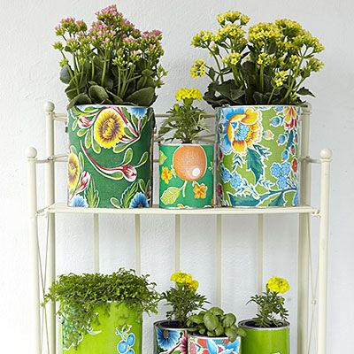 Neat idea...oilcloth/paint cans...