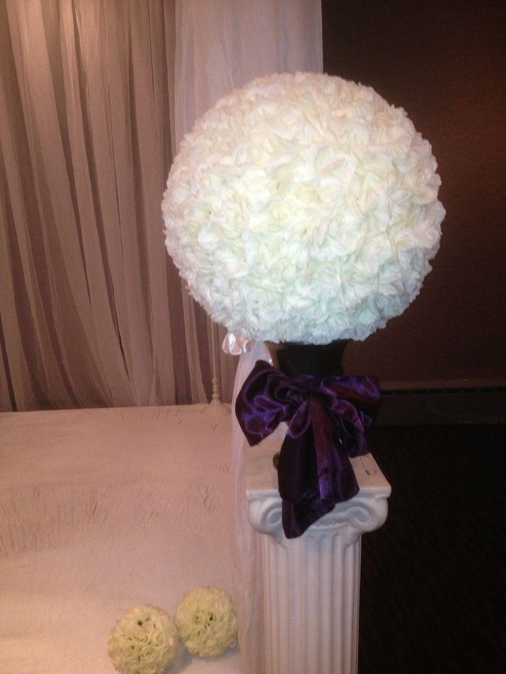 Silk rose balls for ceremony