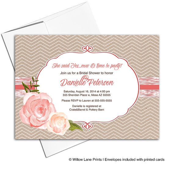 rustic bridal shower invitation fall country wedding shower invitation printable or printed kraft coral chevron wlp00610