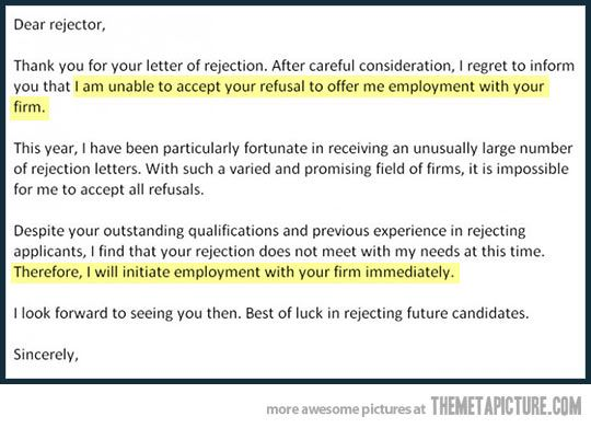 job rejection response