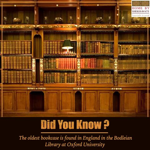 Hello, friends! Did you know ? The oldest bookcase is found in England in the Bodleian Library at Oxford University. Bodleian Library is one of the oldest libraries in Europe. To buy GLOBAL HOME PATTI BOOKCASE, visit http://bit.ly/Global_Bookcase