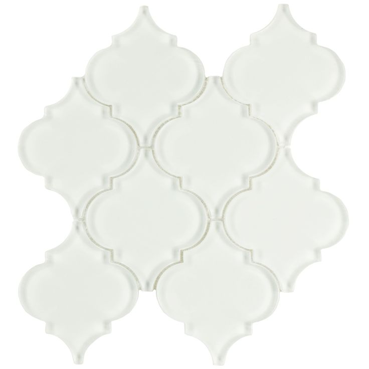 The SomerTile 8x8.625-inch Morocco Ice White Glass Wall Tile brings together the traditional look of a Moroccan lantern with a modern glass finish. This tile features a crisp, clean lantern shape made of a white translucent glass.
