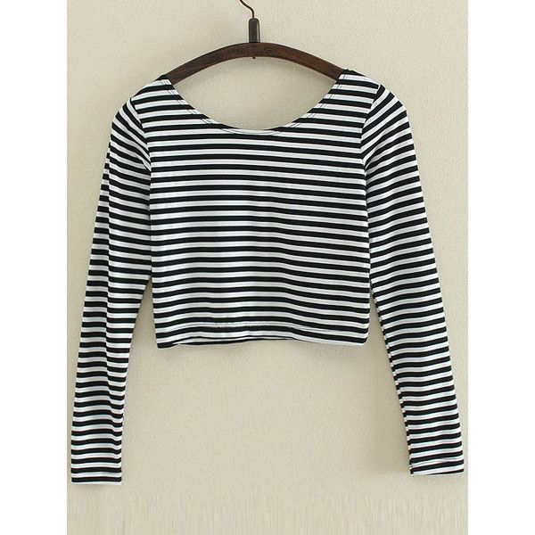 SheIn(sheinside) Black Striped Long Sleeve Crop T-Shirt ($8) ❤ liked on Polyvore featuring tops, t-shirts, long sleeve tops, crop t shirt, sexy crop top, polyester t shirts and cropped tops