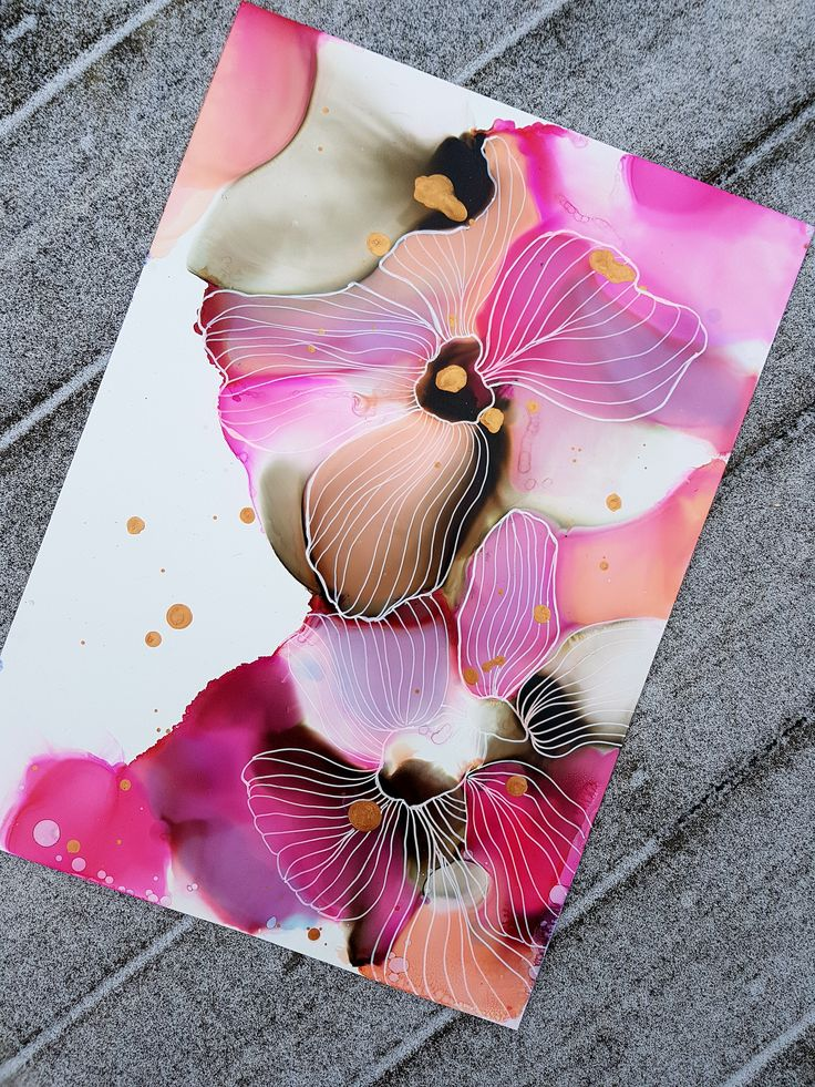 Alcohol ink on yupo with white posca pen illustrations by JulieMarieDesign.
