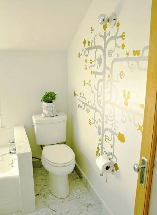 banheiro pequeno decorado: Wall Decor, Small Bathroom Design, Bathroom Wall, Bathroom Ideas, Hall Bath, Houses Tours, Tiny Bathroom, Bath Design, Design Bathroom