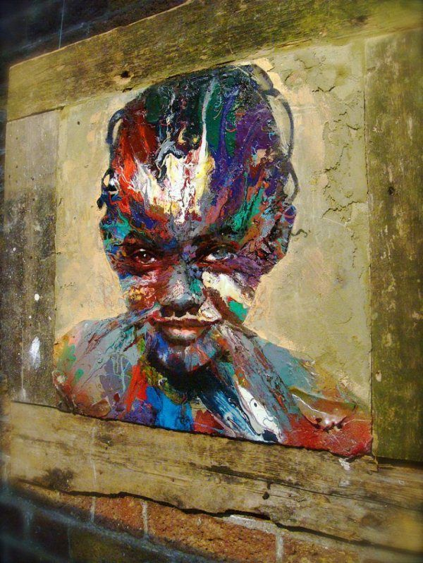 "Matthew Small is a London-based street artist who works mainly with mixed media on found metal. ""Found"" metal is simply recycled metal and mixed media could be anything from traditional oil paint to human hair to rubbish"