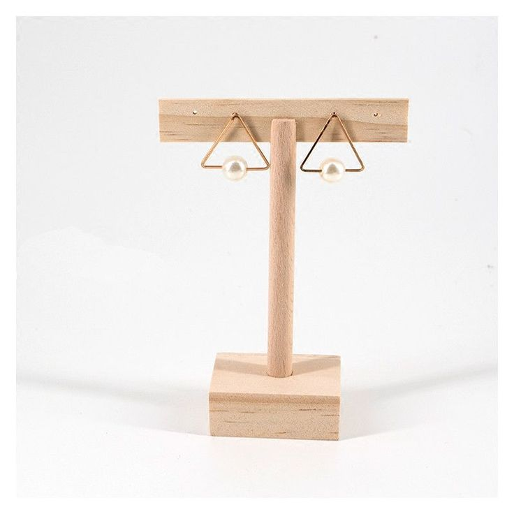 Fashion Eco-Friendly Wood T-Shape Earrings Display Holder Earrings Display Stand Wood Jewelry Holder