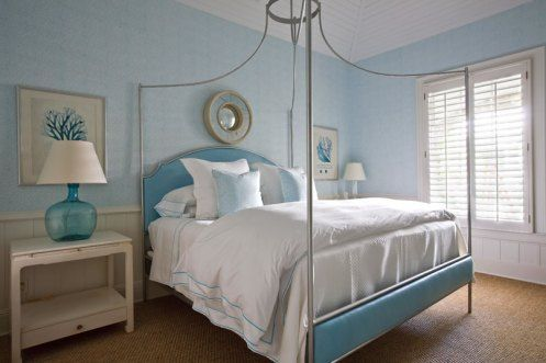 white and baby blue modern coastal beachy bedroom----- beach day--www.floridabeachbums.com