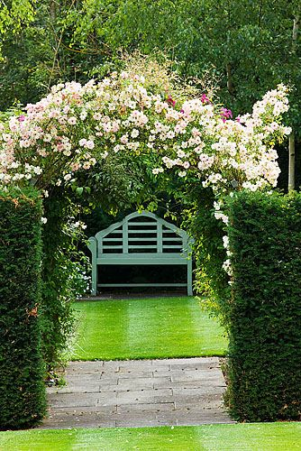 Meadow Farm,Worcestershire: A place to sit - yew hedges with lutyens bench beneath rose 'phyllis bide' trained as arch