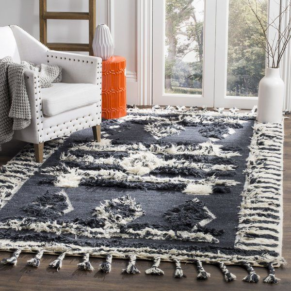 Aten Hand Knotted Wool Cotton Charcoal Area Rug Colorful Rugs Rugs Area Rugs