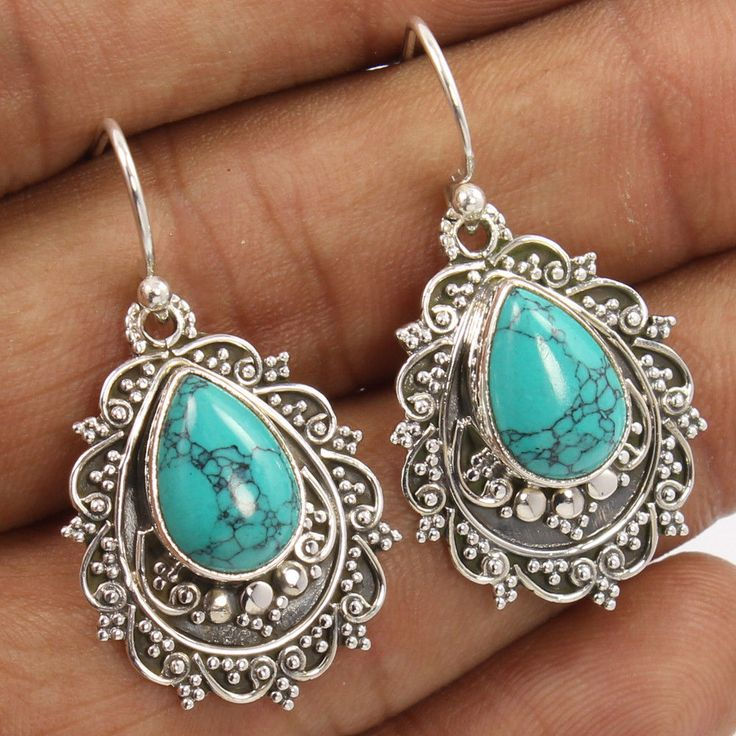 "L-37 mm 1 3/8"" TURQUOISE (S) Gemstones 925 Sterling Silver Vintage Art Earrings #Unbranded #DropDangle"