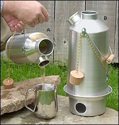 Kelly Kettle®  A very cleverly designed water boiler/cookstove that will burn any kind of fuel. 3 sizes.