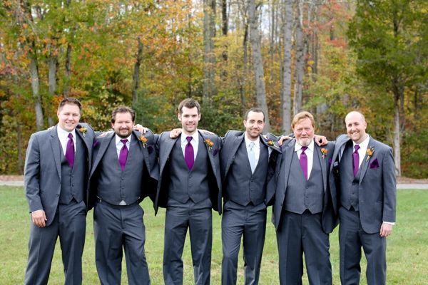 groom and groomsmen, gray men's attire, purple ties and pocket squares, rustic purple DIY wedding, purple and orange fall wedding, Carley Rehberg Photography