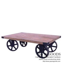 Gerobak Wheel Cart Coffee Table Rustic Industrial Jepara Goods Woodworking Studio Indonesia.  We produce and supply #rusticfurniture #industrialfurniture at affordable price by skilled #craftsman from Jepara, Central Java - Indonesia.