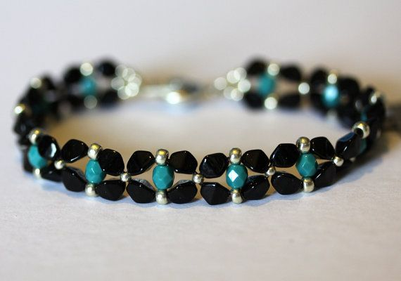 "Items similar to Turquoise and Black ""Pinch Flower"" Bracelet, Beadweaving, Black Pinch Beads, Turquoise Fire Polished Crystals, Amy Johnson Designs BV2085 on Etsy"