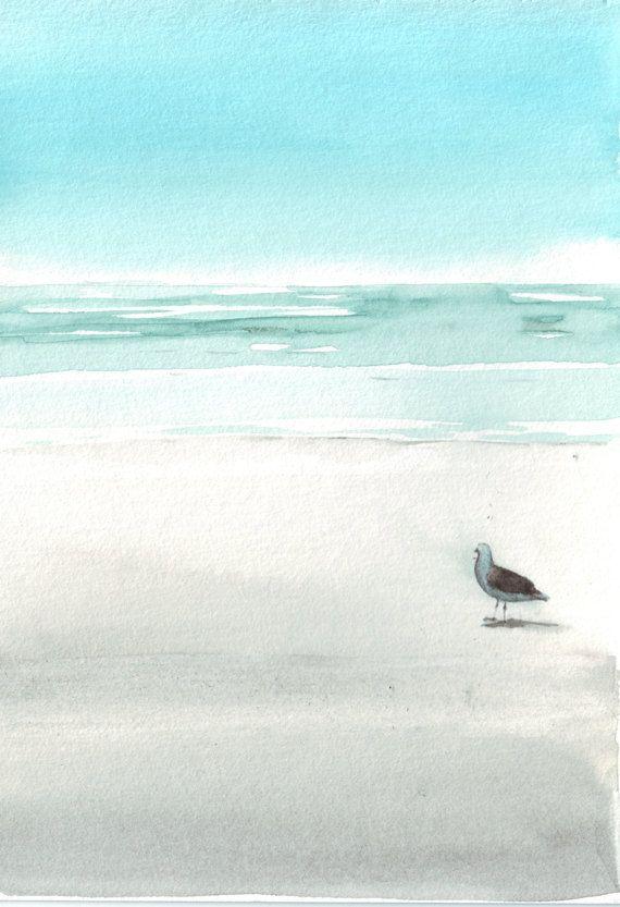 Original watercolor painting art beach bird seagull nautical blue turquoise aqua brown white. 20.00, via Etsy.