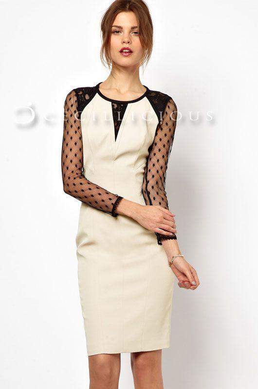 Calla Polkadot Mesh Long Sleeve Midi Dress