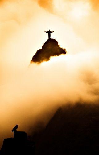 Rio de Janeiro, Brazil - Christ the Redeemer statue in the clouds....
