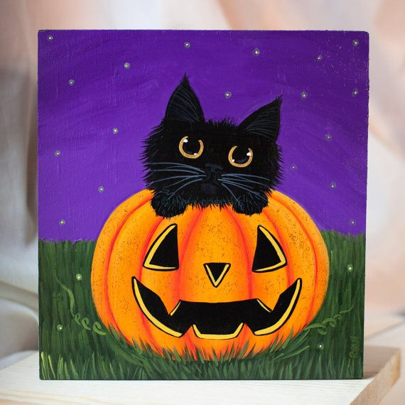 Black Cat in a Pumpkin Original Halloween Folk Art Painting on Etsy, $65.00