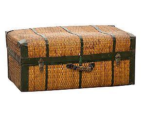 Baule da viaggio in rattan intrecciato - 92x46x55 cm