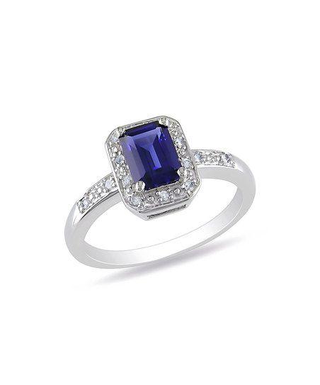 Sapphire & Diamond Rectangle Ring