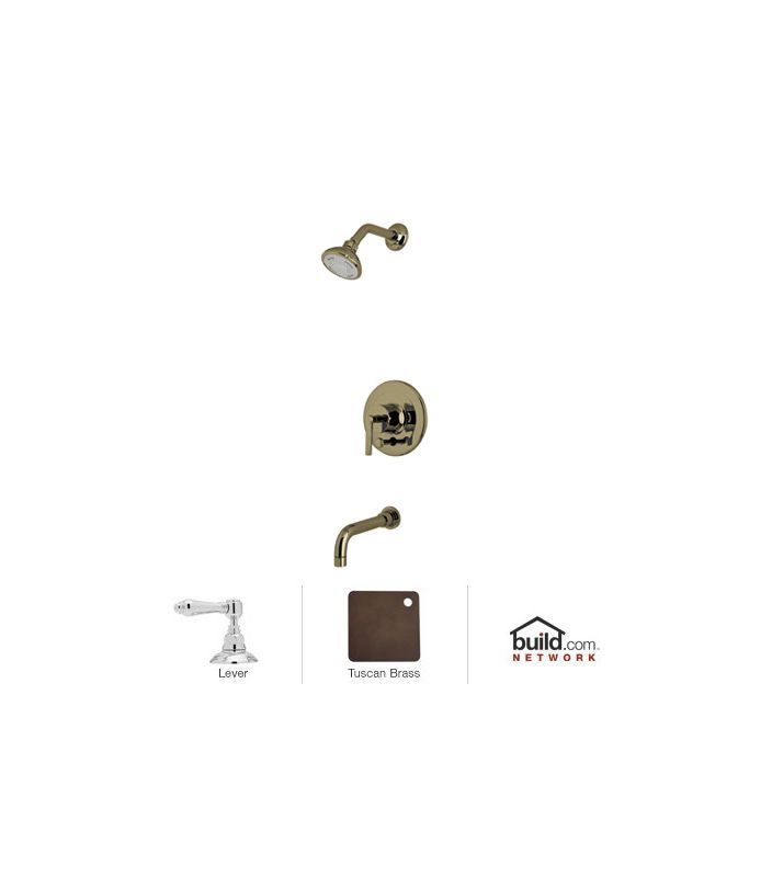 Rohl LOKIT21LM Lombardia Shower System with Shower Head Shower Arm Tub Spout Tuscan Brass Faucet Shower System Single Handle