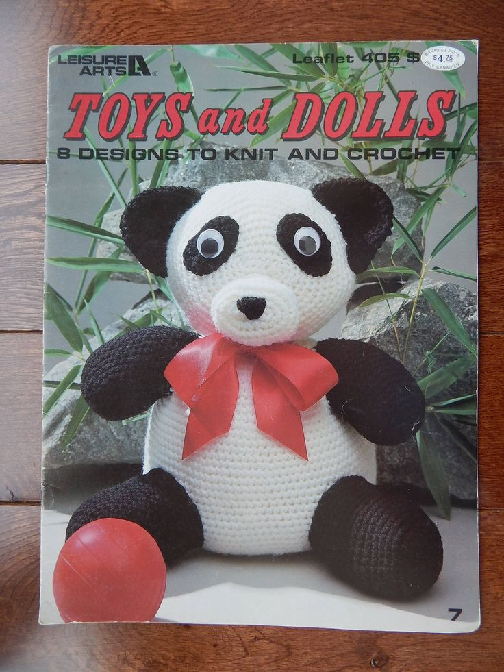 Toys and Dolls 8 Designs to Knit & Crochet, Patterns Panda, Clowns, Dolls/ Vintage Leisure Arts 405/ Stuffed Toys, Turn A Bonnet Doll by RedWickerBasket on Etsy