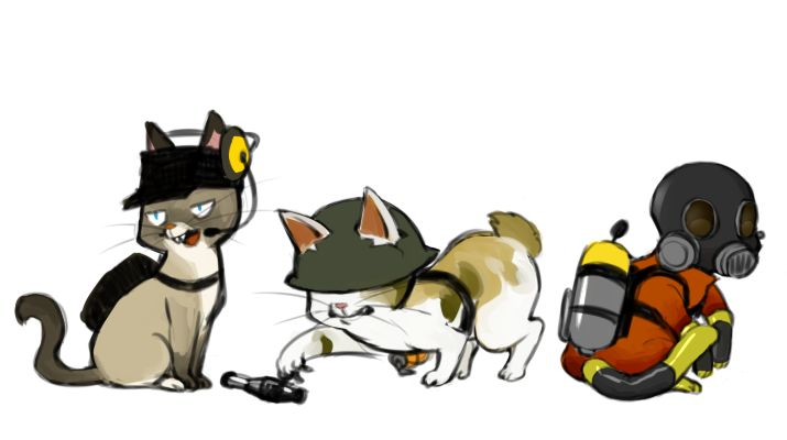 TF2 kitties: Scout, Soldier, Pyro.