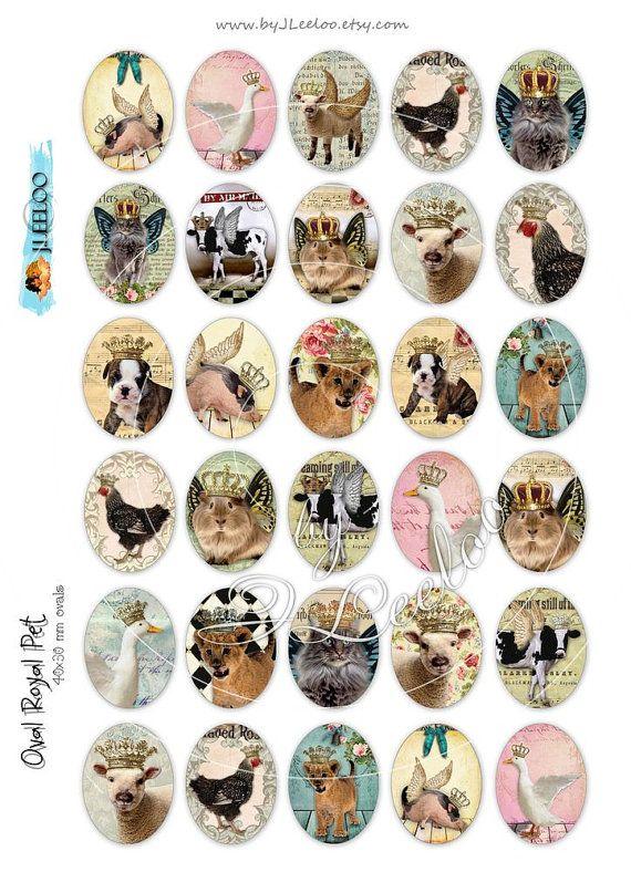 Digital Collage OVAL ROYAL PET bedruckbares 30×40 mm Haustier von byJLeeloo   – DIY & Crafts