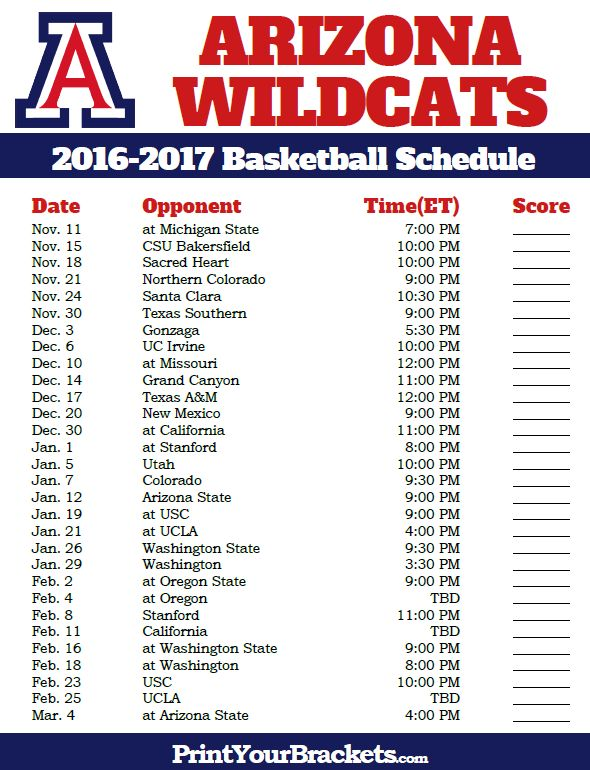 Arizona Wildcats 2016-2017 College Basketball Schedule