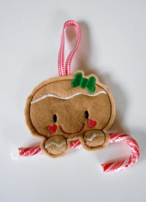 Gingerbread Girl Candy Cane Christmas Ornament Embroidered Felt--Ready to Ship