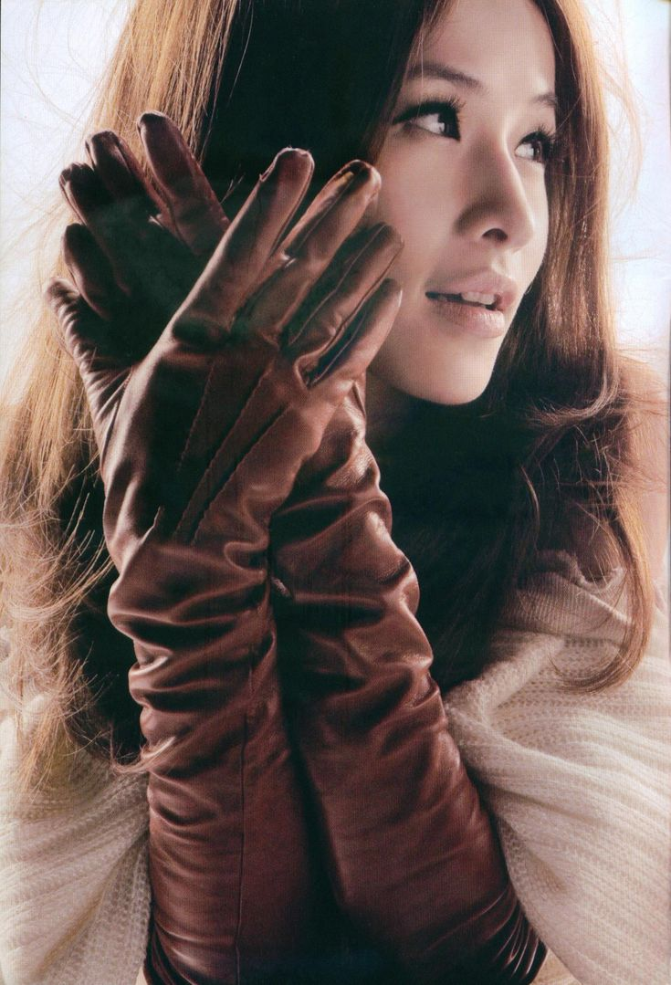 Ladies leather gloves australia -  Brown Long Leather Gloves Asian Model Gloves Gloves Fashion Nice Www
