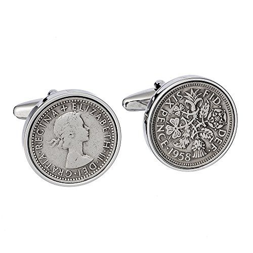 60th Birthday - 1958 England Cufflinks- Perfect English Sixpence--69.99 Check more at https://www.thesterlingsilver.com/product/60th-birthday-1958-england-cufflinks-perfect-english-sixpence/