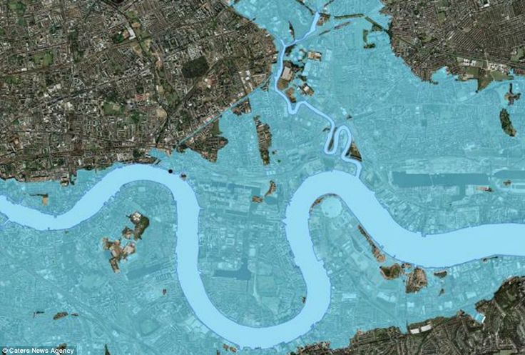 It may look like an aerial shot from a post-apocalyptic film, but this map shows how London could look if sea levels continue to rise and th...