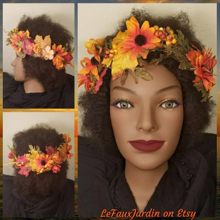 Fall Boho Flower Crown Autumn Oktoberfest Renaissance Festival Wedding Rustic Fl…