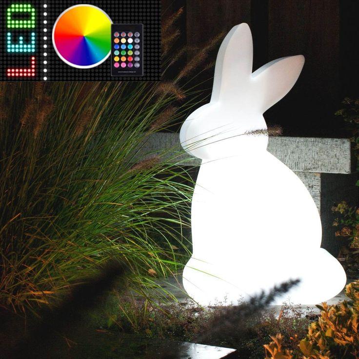 MIA Light Deko Oster Hase Leuchte AUSSEN Ø400mm/ RGB LED/ Dimmbar/ Fernbedienung/ Modern/ Weiß/ Kunststoff/ Lampe