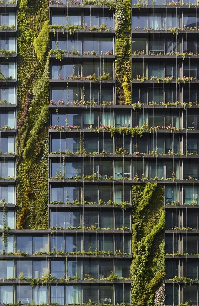 Vertical gardens at the One Central Park, Chippendale, Australia designed by…