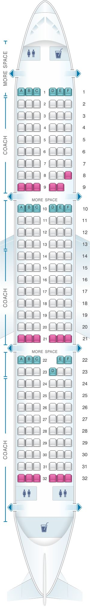 Seat Map JetBlue Airways Airbus A321 Config 1 | Air ...