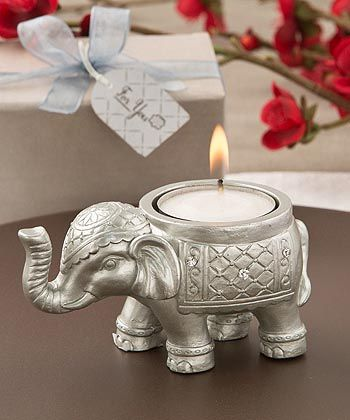 Elegant silver elephant East Indian or Asian inspired candle favor makes a lovely wedding favor for your guests.