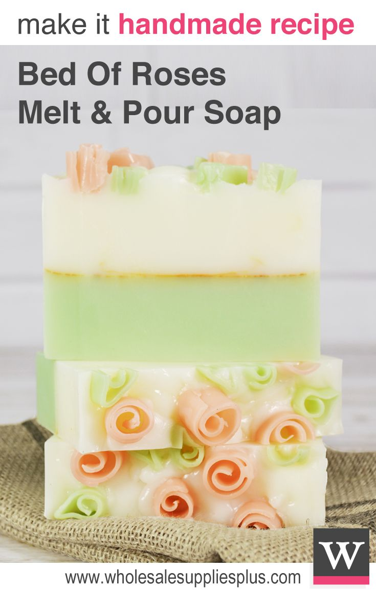 Bed of Rose Melt & Pour Soap Recipe. Learn how to use a vegetable peeler to create these cute rose buds that adorn this melt and pour soap. This soap is green and white with a gold pencil line and pink rose buds on top.