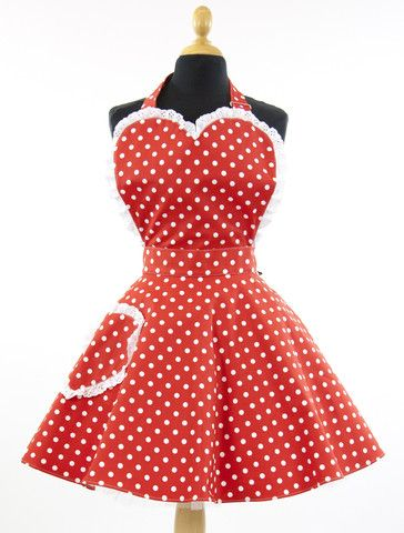 Deliciously Dotty Retro Red 50's Inspired Rockabilly Sweetheart Adult Apron. www.thesundaygirlcompany.co.uk