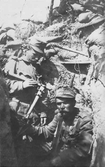 "Austro-Hungarian soldiers armed with clubs which were some of the many weapons used by soldiers of all the armies involved to ""clear out"" their trench."
