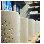 Handmade porcelain lanterns before firing made by Saara Paatero-Burtsov
