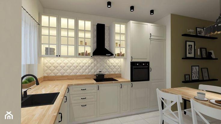 Przytulna Kuchnia Srednia Otwarta Biala Zielona Kuchnia W Ksztalcie Litery L Z Oknem Styl Skandynawski Zdjecie O Modern Kitchen Design Home Modern Kitchen