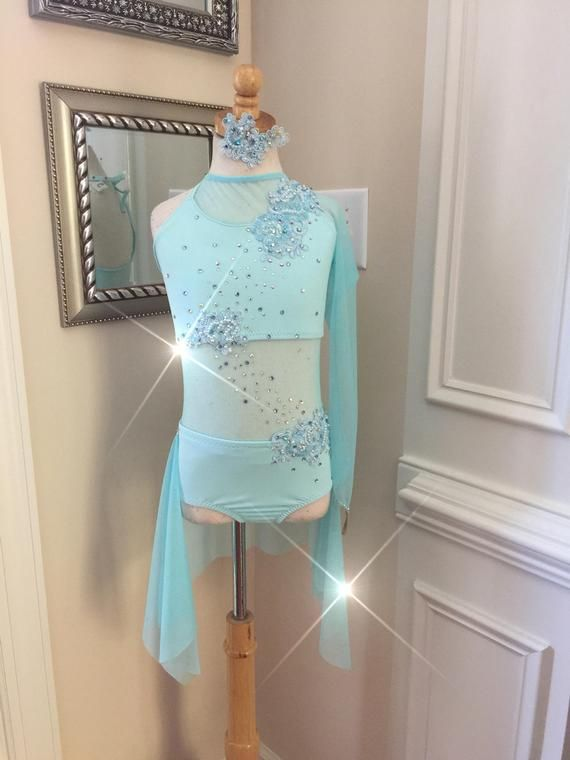 teal dance costume competition Dance Costume lyrical  dance costume dance costume custom leotard Contemporary dance Costume